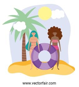 summer people activities, girls in bikini with float, seashore relaxing and performing leisure outdoor