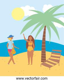 summer people activities, female characters in the beach tropical, seashore relaxing and performing leisure outdoor
