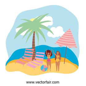 summer people activities, cartoon girls with deck chairs ball and umbrella, seashore relaxing and performing leisure outdoor