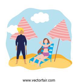 summer people activities, man and woman resting on deck chair with umbrella, seashore relaxing and performing leisure outdoor