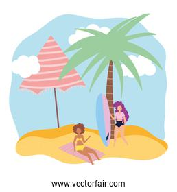 summer people activities, woman with surfboard and girl in towel, seashore relaxing and performing leisure outdoor