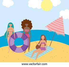 summer people activities, group girls with float umbrella and towel in the beach, seashore relaxing and performing leisure outdoor