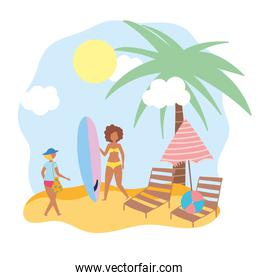 summer people activities, women with surfboard chairs and umbrella, seashore relaxing and performing leisure outdoor