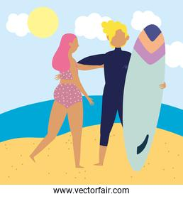 summer people activities, couple with surfboard on a beach, seashore relaxing and performing leisure outdoor