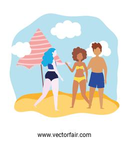 summer people activities, couple and woman with umbrella in the beach, seashore relaxing and performing leisure outdoor