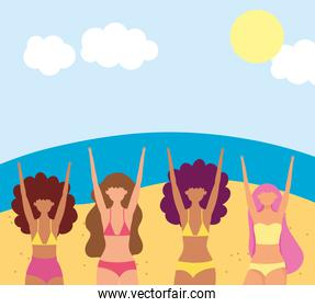 summer people activities, happy girls with bikini in the ebach tropical scene, seashore relaxing and performing leisure outdoor