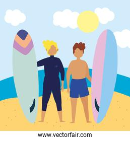 summer people activities, young men holding surfboard in the beach, seashore relaxing and performing leisure outdoor