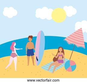 summer people activities, man and girls with ball surfboard, seashore relaxing and performing leisure outdoor