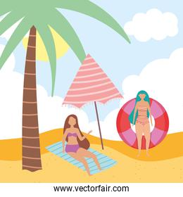 summer people activities, women with float umbrella resting on towel, seashore relaxing and performing leisure outdoor