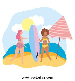 summer people activities, girls with swimwear surfboard and umbrella, seashore relaxing and performing leisure outdoor