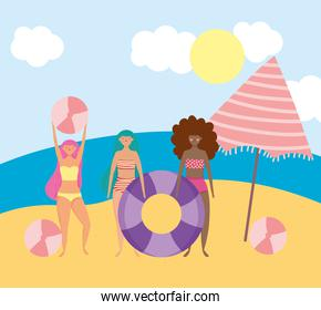 summer people activities, women playing balls and float, seashore relaxing and performing leisure outdoor
