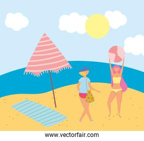 summer people activities, girls with ball umbrella and towel, seashore relaxing and performing leisure outdoor