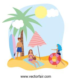 summer people activities, man with surfboard girls with float, seashore relaxing and performing leisure outdoor