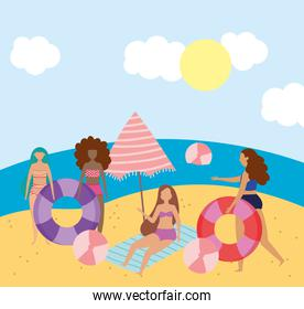 summer people activities, group girls balls umbrella and float, seashore relaxing and performing leisure outdoor