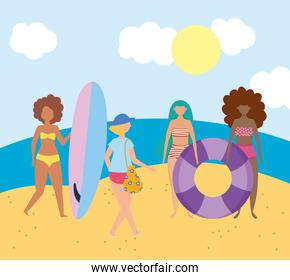 summer people activities, happy young people in the beach, seashore relaxing and performing leisure outdoor