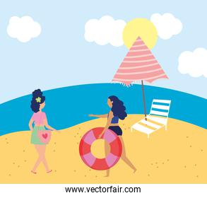 summer people activities, young women with float chair and umbrella, seashore relaxing and performing leisure outdoor