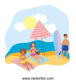summer people activities, girls resting on towels and man with surfboard, seashore relaxing and performing leisure outdoor