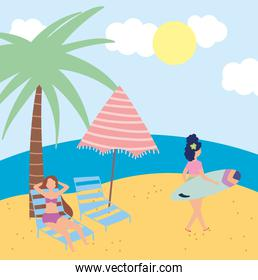 summer people activities, woman with surfboard and girl sitting on chair, seashore relaxing and performing leisure outdoor