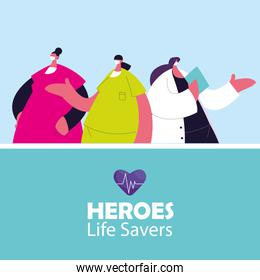 medical women heroes working against the coronavirus with masks and medical kit