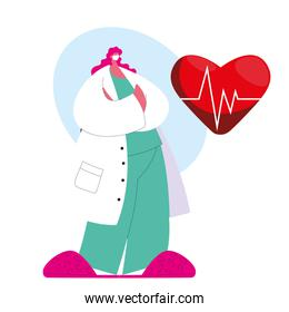 Cardiologist female doctor in medical uniform with mask and gown