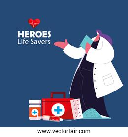 medical heroes working against the coronavirus with masks and medical kit