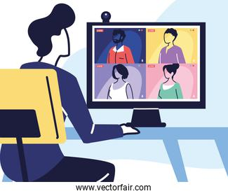 man using computer for virtual meeting, videoconference, remote work, technology