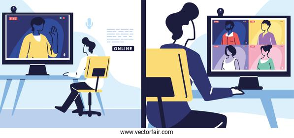 man using computer for virtual meeting, banner