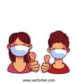girl and boy with safety masks at home