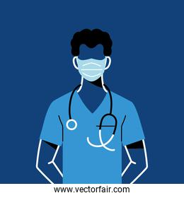 male doctor with mask and uniform vector design