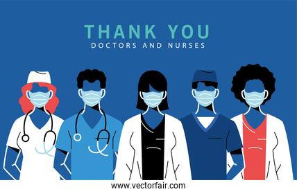 Female and male doctors with masks and uniforms vector design