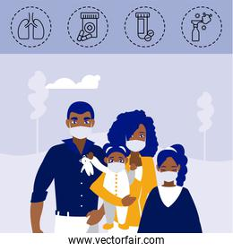 family with icons of coronavirus protection and symptoms