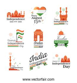 Happy india independence day icon set detailed style icon vector design
