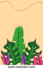 Beach with leaves top view detailed style icon vector design