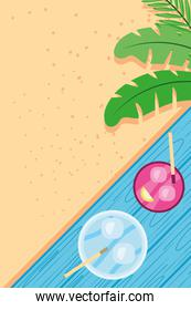 Beach with cocktails and leaves top view detailed style icon vector design