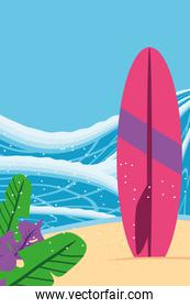 Beach with sea surfboard and leaves detailed style icon vector design