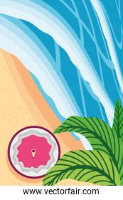Beach with sea coconut cocktail and leaves top view detailed style icon vector design