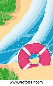 Beach with sea float and leaves top view detailed style icon vector design