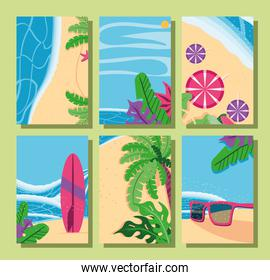 Summer backgrounds top view detailed style frames set vector design