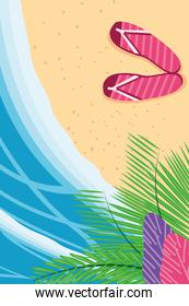 Beach with sea sandals and leaves top view detailed style icon vector design