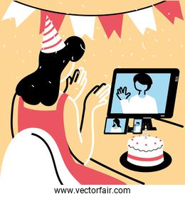 Woman with party hat and computer in video chat vector design