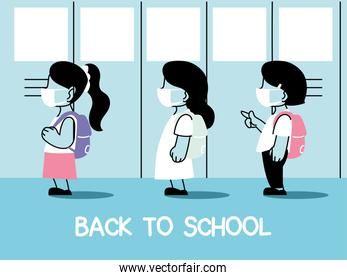 back to school, group of kids wearing face mask and social distancing