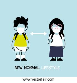 back to school for new normal lifestyle concept, kids wearing face mask and social distancing