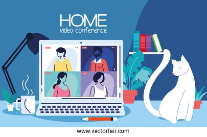 computer sharing video conference at home