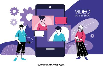 people working with video call device