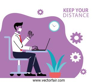 Social distancing and man with maskat office desk with laptop vector design