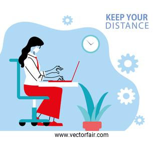 Social distancing and woman with mask at office desk with laptop vector design