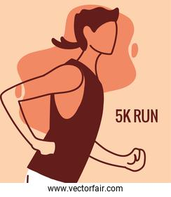 Man avatar running and 5 k run vector design
