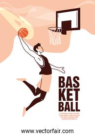 Basketball player man with ball jumping to backboard vector design