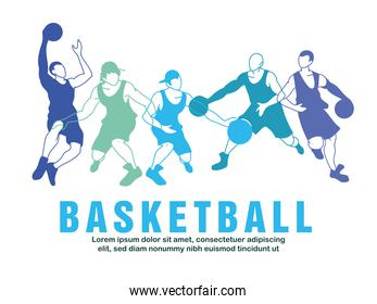 Basketball players men with balls in blue silhouettes vector design