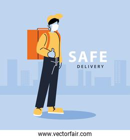 safe delivery, man courier with face mask and delivery backpack